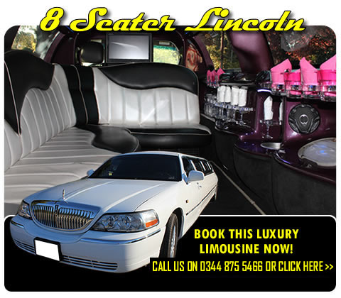 8 seater Lincoln Town Car (white)